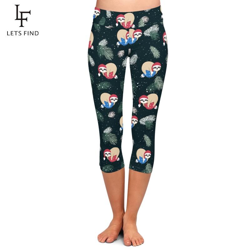 LETSFIND High Quaility Women Pants 3D Winter Funny Sloth Print Capri Legging High Waist Plus Size Elastic Slim Mid-Calf Leggings