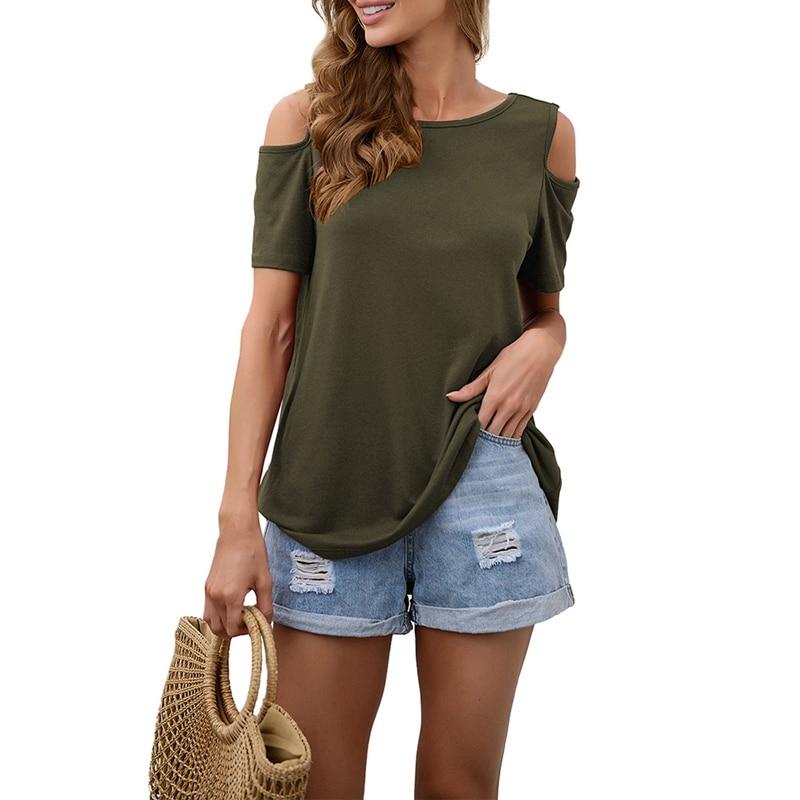 Women Cold Shoulder T-shirt Tops V-Neck Short-Sleeve Ladies Tee Shirt Summer Casual Loose Solid Color T Shirt T1