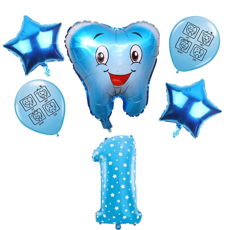 6 шт. синий розового цвета, в виде мультяшного зубы тема баллоны выражение улыбающееся лицо зуб латексные шары-цифры 1-9 День рождения Декор д...