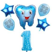 6 pçs azul rosa dos desenhos animados dentes tema balões expressão sorriso rosto dente látex balões número 1-9 decoração da festa de aniversário crianças brinquedos