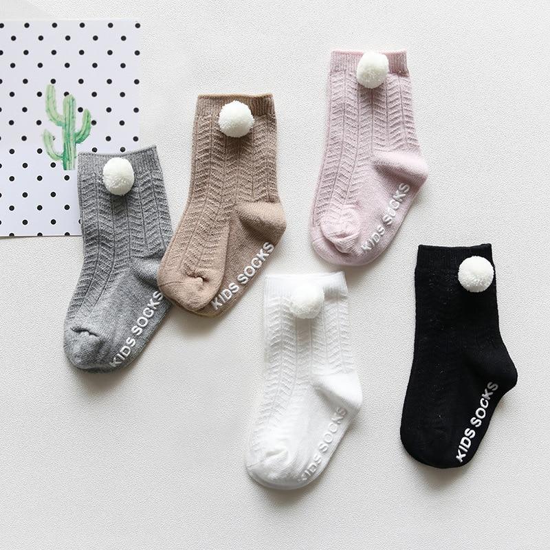 Children Socks For Girls High Quality Solid Simple Style Anti Slip Socks For Newbor Baby Kids Girl Cotton Boneless Socks