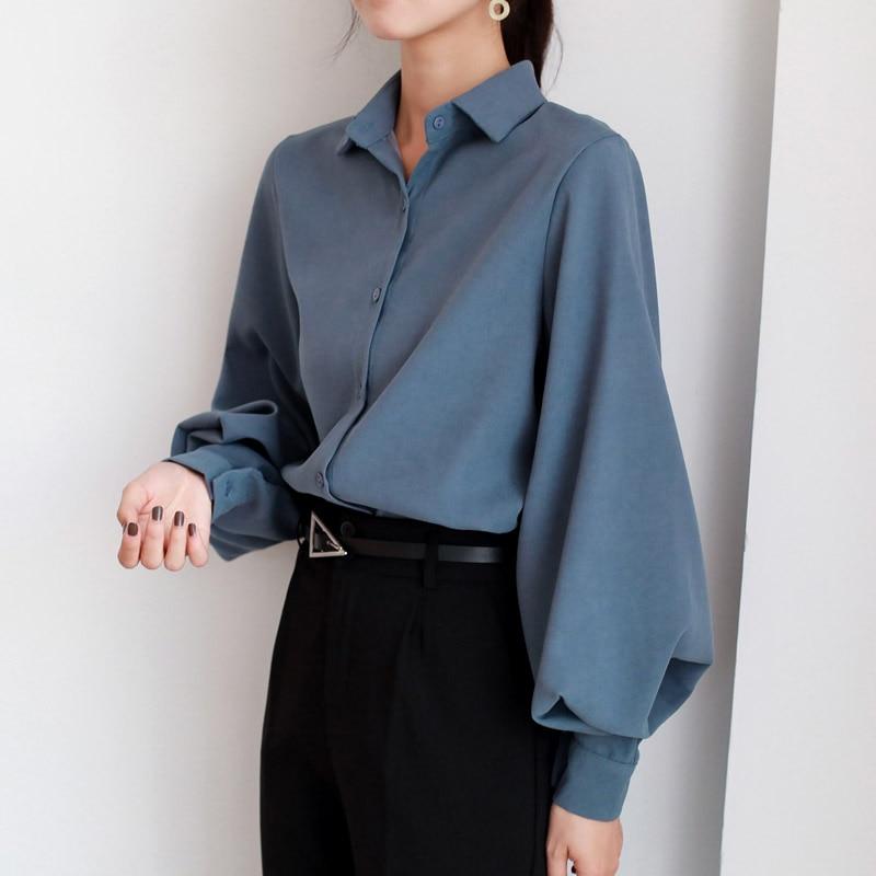 Blusa de manga larga estilo vintage para primavera y otoño, camisa blanca con cuello vuelto para mujer, color negro