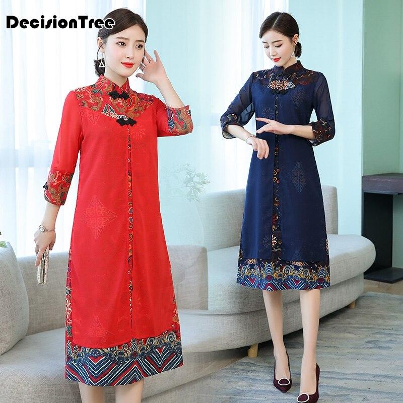 2019 cheongsam ao dai vietnam ao dai qipao asian dress cotton linen robe oriental floral print folk style Vintage Casual Retro 2