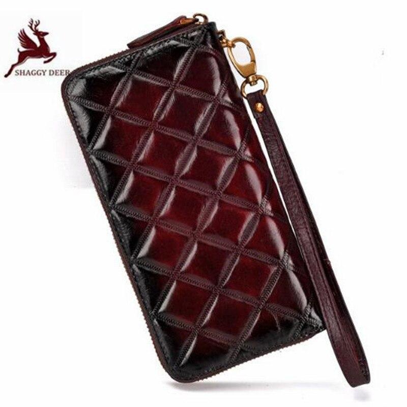 Perceuse grille personnalité fait à la main qualité femmes Long portefeuille en cuir véritable vintage Western fermeture à glissière embrayage