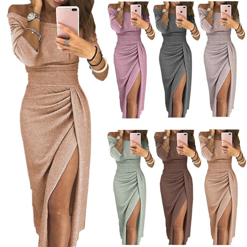 2019 Party Dress 2018 Shiny Off Shoulder Ruched Thigh Slit Dress Sexy Club Wrist Sleeve Women Dress