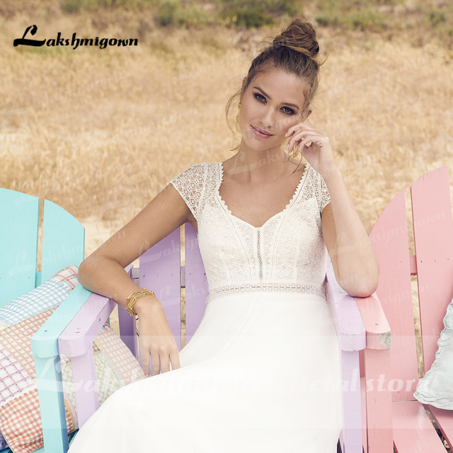 Lakshmigown ivory Wedding Dresses 2021 Vestaglia Donna A Line Chic Bridal Dress Sheer Illusion Lace Top bridal Dress 4