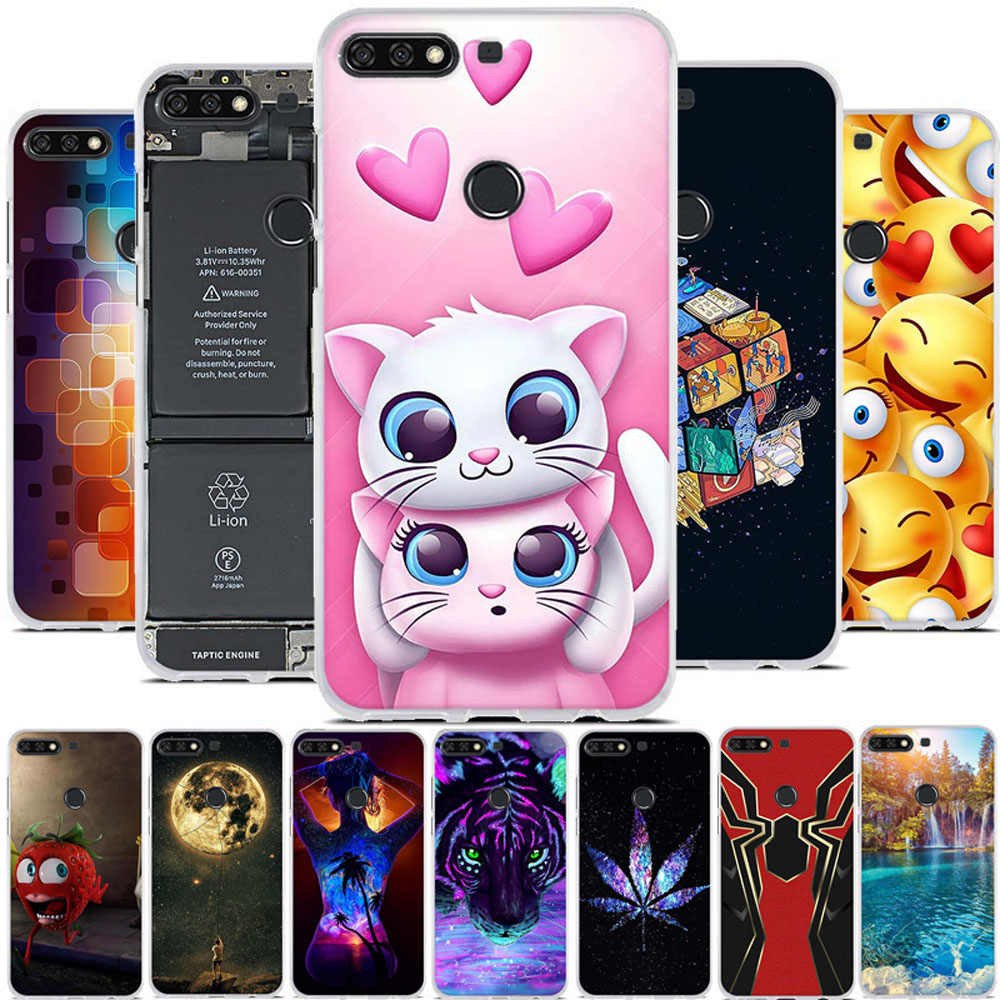 3D Print Case For Huawei Y7 Y7 Pro Y7 Prime 2018 Case Silicone Cover For Huawei Honor 7C Coque For Nova 2 Lite Bumper Coque