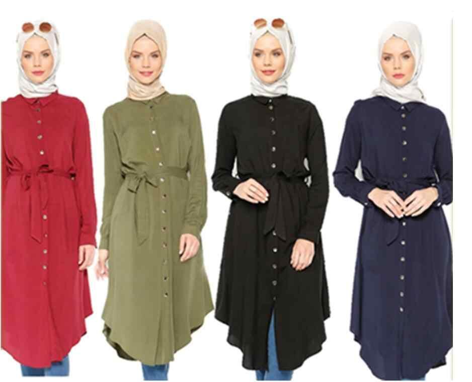 Abaya Women Muslim Asymmetric Long Sleeve Blouse Shirts Irregular Islamic Dress