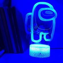 Wśród nas 3D lampa do gier 16 kolory RGB LED nocna lampa biurkowa strona główna atmosfera wakacyjna wystrój atmosfera nocna nocna gra podarunkowa