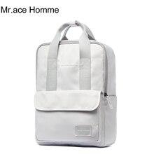 White Laptop Backpack Women Square Waterproof Ladies School Backpacks For Girl College