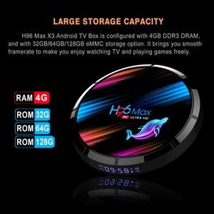 Image 3 - صندوق تلفاز ذكي H96 MAX X3 أندرويد 9.0 مع ذاكرة الوصول العشوائي 4G ROM 32G 64G 128G Amlogic S905X3 2.4G WIFI BT4.0 جوجل ميديا بلاي Andorid صندوق التلفزيون