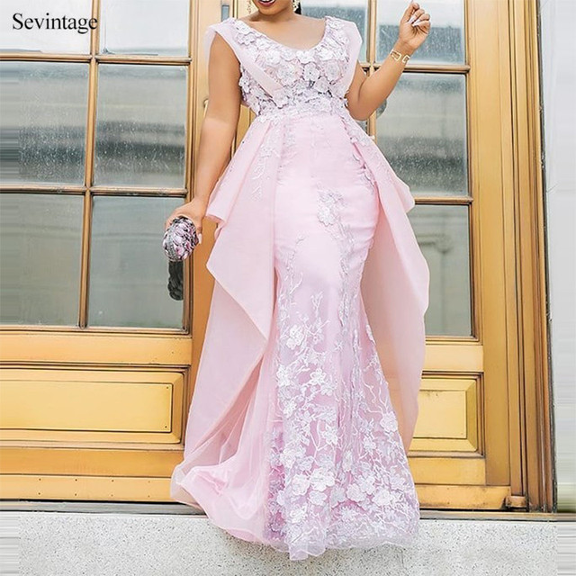 Sevintage Chic Pink Scoop Mermaid Prom Dresses Lace Satin Chiffon Women Formal Dress Custom Made Plus Size Evening Gowns 2020 5