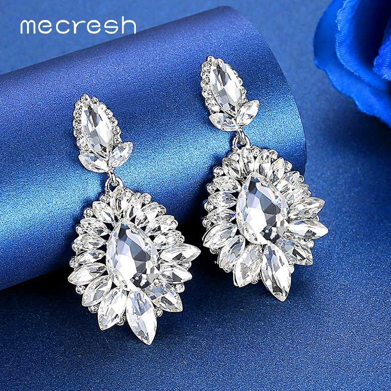 Mecresh Luxury Flower Silver Gold Multicolor Bridal Drop Earrings for Women Horse Eye Crystal Wedding Dangle Earrings MEH1646