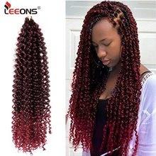 Leeons ön bükümlü tutku Twists örgü saç uzatma sentetik saç Ombre örgü saç kabarık Twists örgü saç toplu