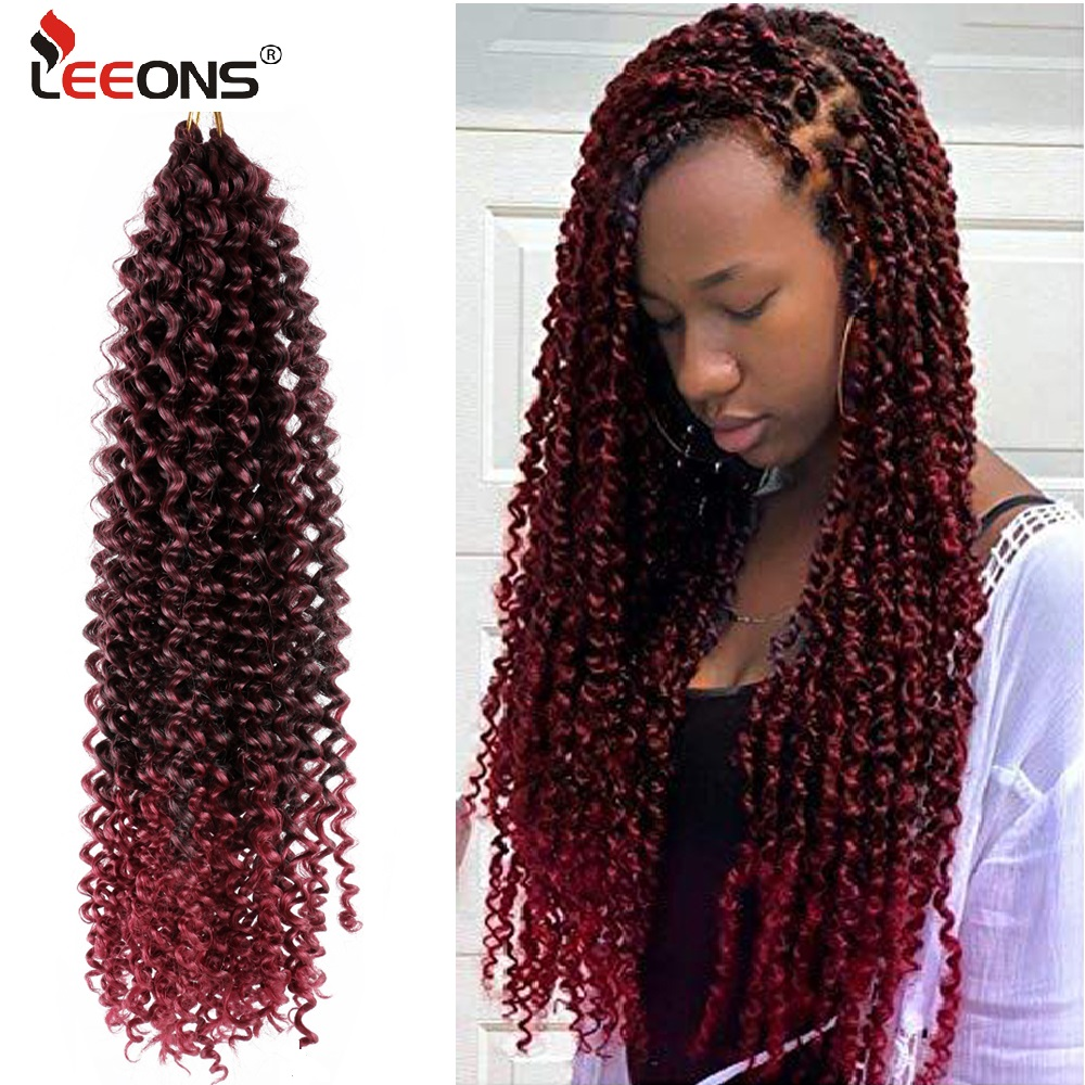 Leeons Pre Twisted Passion Twists Crochet Braid Hair Extension Synthetic Hair Ombre Braiding Hair Fluffy Twists Braid Hair Bulk image
