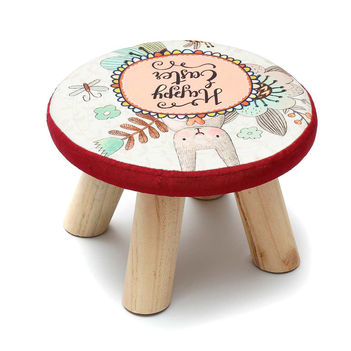 Fashion Home Sofa Round Stool Cloth Art Living Room Tea Table Mound Wooden Creative Small Foot Stools Saddle Kids Stool Bench