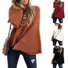Women Long Bell Sleeve Sweater Tops Pullover Jumper Loose Solid Casual Blouse bell sleeve jumper
