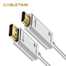 Cabletime DisplayPort-HDMI-совместимый кабель 1080P DP-HDMI-совместимый M/M DisplayPort 1,2 для HDTV проектора ноутбука N164