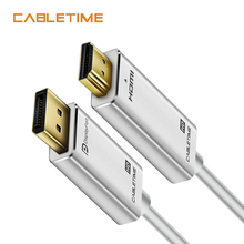 Cabletime displayport para hdmi-cabo compatível 1080p dp para hdmi-compatível m/m displayport 1.2 para hdtv projetor portátil n164