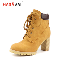 HARAVAL Classic Women Ankle Boots Winter Handmade Leather Round Toe High Square Heel Shoes Fashion Solid Soft Lace-up Boot B261 nesimoo size 34 43 fashion zipper 2017 round toe pu leather women shoes square high heel ankle boot women motorcycle boot