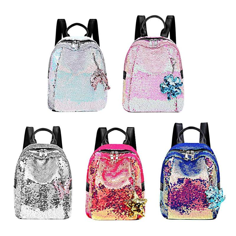 Mini Gradient Sequins Backpacks Pendant Women Girls Kids School Book Bags