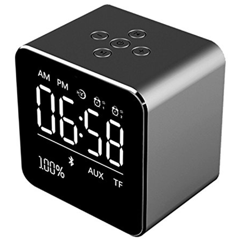 Alarm Clock With Wireless Bluetooth Speaker, Metal Mini Square Portable Speaker 2 Set Of Alarm Clock Lcd Screen For Office