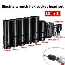 Juego de llaves eléctricas, destornillador, cabezal con Conector hexagonal, 10 Uds.Accesorios para herramientas eléctricas