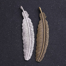 Encantos de marcadores para fabricação de joias, 2 peças 21*104mm, duas cores, penas de cobre, pingentes, marcador de livros para fazer joias diy achados de produção