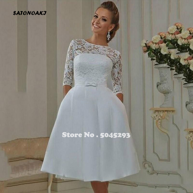 SATONOAKI 2020 Short Wedding Dresses A-Line with Half Sleeve Knee Lenght Backless Jewel Neck Bow Summer Beach Lace Bridal Gowns
