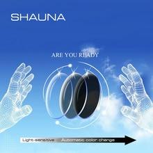 SHAUNA 1.56 מרשם CR 39 שרף שינוי צבע משקפיים עדשות קוצר ראייה רוחק פרסביופיה עדשה אופטית רגיש לאור
