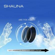 SHAUNA lentes de resina graduadas para CR 39, lentes de decoloración para miopía, hipermetropía, óptica, sensible a la luz, 1,56