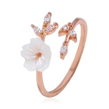 2020 New Hot Cute Zircon Crystal Leaf Shell Flower Ring for Women Ladies Girls best gift Rose Gold open Rings Size adjustable image