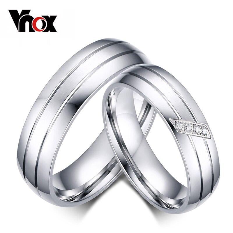 ¡Promoción! Anillos de boda de acero inoxidable a la moda, anillo de compromiso para hombre y mujer, Zirconia cúbica, anillos para parejas