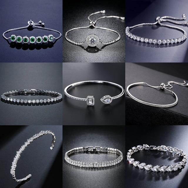2021 New Fashion Luxury 925 Sterling Silver Tennis women's Bracelets Bangle For Women Christmas Gift Jewelry Wholesale S5877b 1