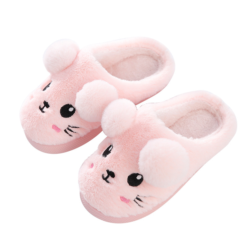 Cute Toddler Boys Girls Fluffy Little Soft Shoes Winter Warm Animal Home Slipper