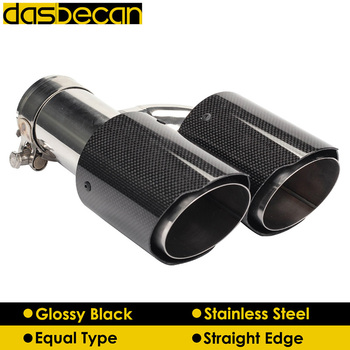 Dasbecan Equal Glossy 3K Carbon Fiber Exhaust Pipe H Model for AK Rear Car Dual Exhaust Tips Stainless Steel End Tip Universal