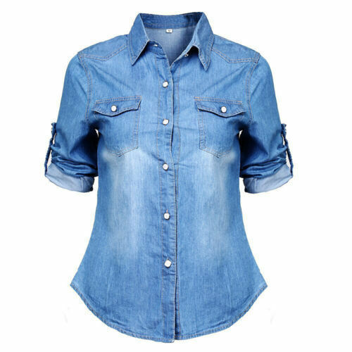Womens Retro Blue Jean Soft Denim Adjustable Long Sleeve Casual Shirt Tops Blouse Jacket Autumn Loose Fashion Button Lady Blouse
