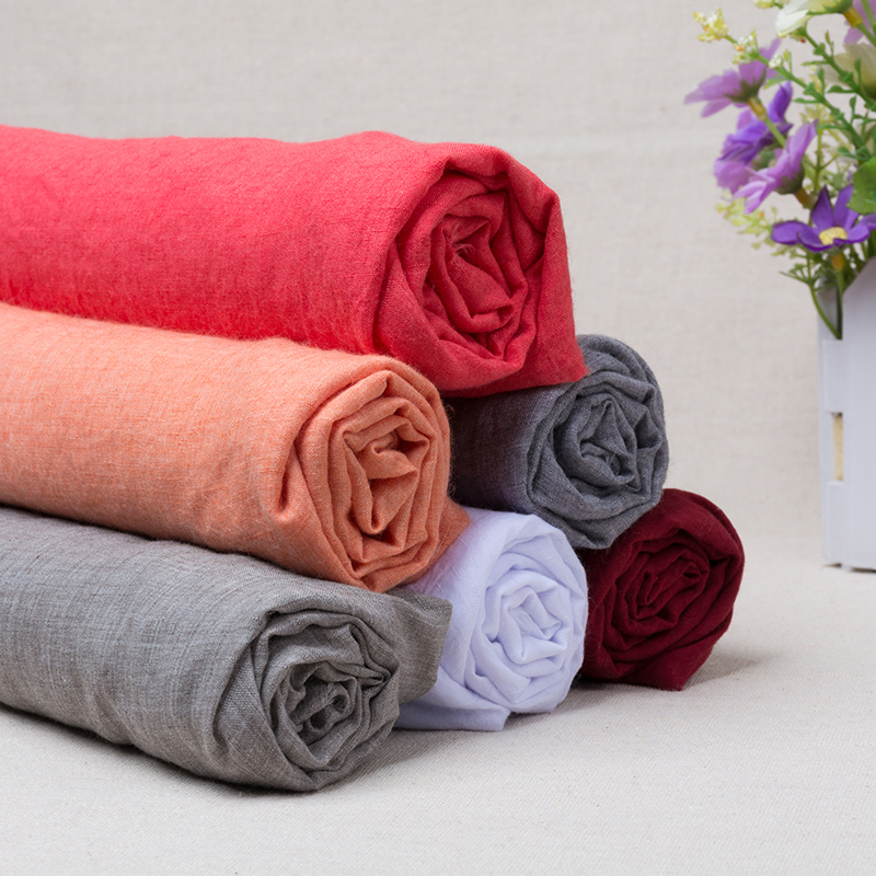 100x140cm Solid Color Cotton Linen Thin Fabric Handmade Clothes Dress Bamboo Slub DIY Sewing Dress Background Craft Material