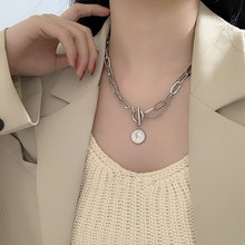 Bilandi Trendy Jewelry Chain Necklace Hot Selling Multi Layer Metal Round Heart Coin Gometric Pendant Necklace For Girl Gifts