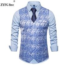 Autumn winter men smart casual suit vest Cashew flowers pattern Vest Tops Double-breasted design mens plus size