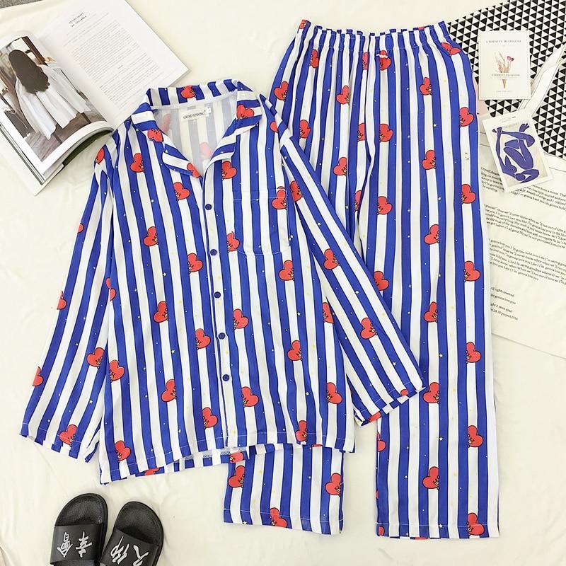 Women Sleepwear Cartoon Print Pajamas Sets Cute Harajuku Summer Korean Style Kawaii Pyjamas Set Shirt And Pant Sets