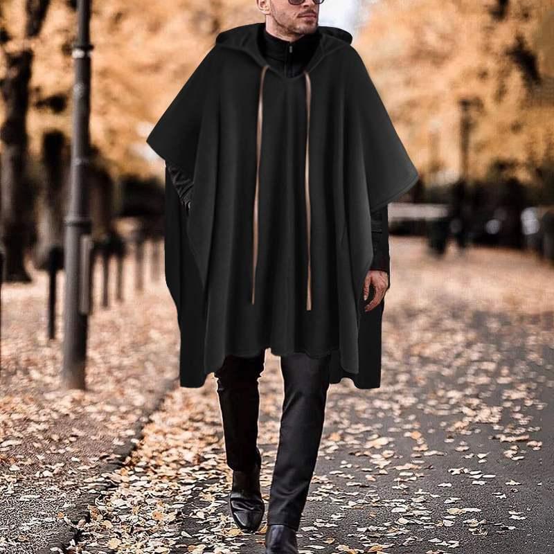 INCERUN Mens Poncho Warm Cape Coat Jacket Cloak Baggy Hippy Jumper Shirt Outwear