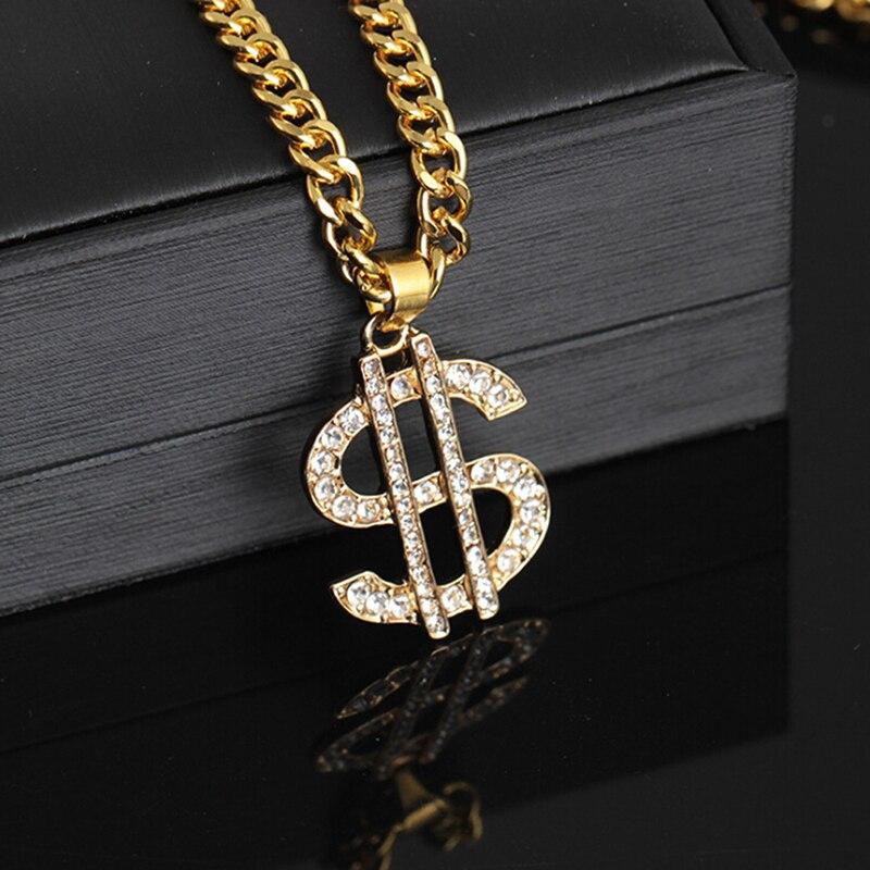 Хип-хоп рэп золотой цвет доллар США кулон ожерелье цепочка аксессуары хип-хоп ювелирные изделия деньги для женщин/мужчин шикарные ювелирны...