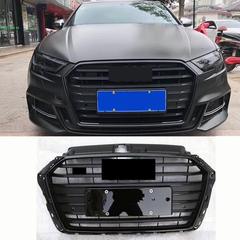 Bumper Grille Car Front Bumper <font><b>Grill</b></font> Mesh Hood Front Center Middle Grille for <font><b>Audi</b></font> A3/<font><b>S3</b></font> 2017-2019 Car Mesh Black image