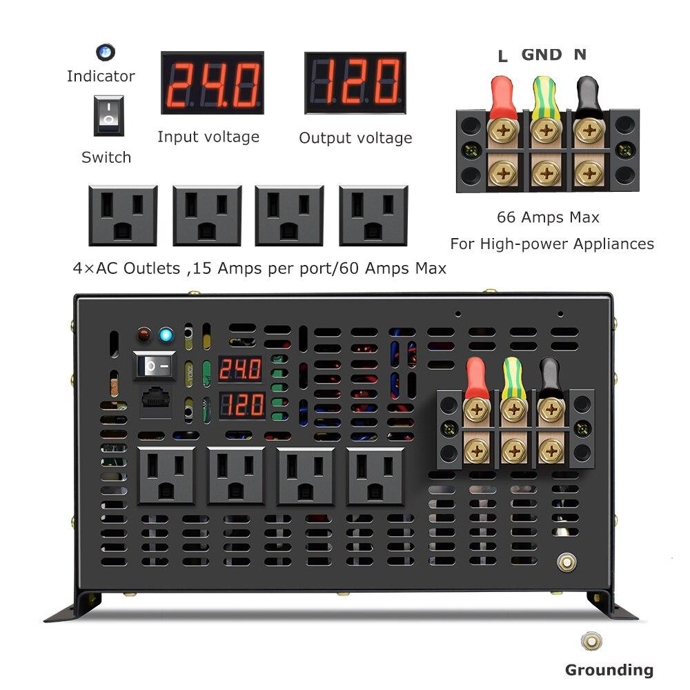 48v 110v dc para ac 120v 220v 240v com fio controlador