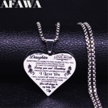 To My Daughter Stainless Steel Necklaces Pendants Women Silver Color Necklaces Jewelry acero inoxidable joyeria mujer N4018S01