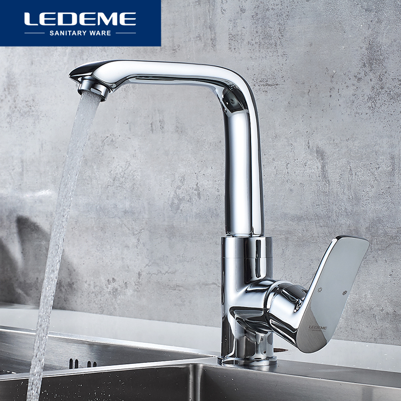 LEDEME Kitchen Faucet Top Quality Chrome 360 Degree Swivel Kitchen Mixer Cold Hot Sink Tap Faucets Taps L4034-2