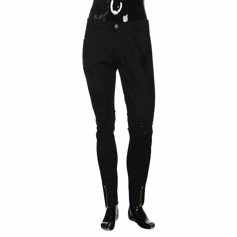 Nieuwe Mannen Stretchy Ripped Skinny Biker Borduren Print Jeans Vernietigd Gat Afgeplakt Slim Fit Denim Bekrast Hoge Kwaliteit Jean 2020