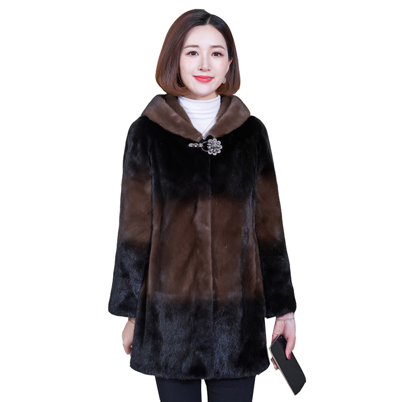 High-quality Fur Mink Down Coat Women 2020 Winter New Mid-length Loose Loose Thin Plus Size Mink Mink Parka Coats Women Overcoat
