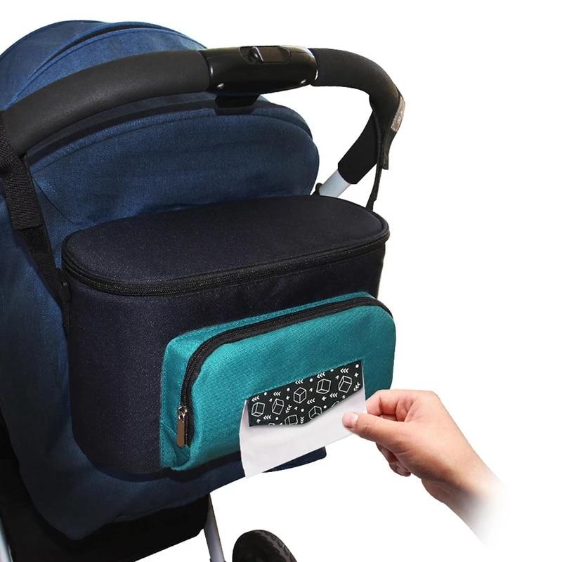 Baby Stroller Organizer Nappy Bag Big Capacity Diaper Changing Bag Travel Thermal Insulation Pram Bottle Hanging Bag For Mom